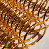 Espiral Metálico em Alumínio  25mm x 26 cm (1'') Cor: Ouro Pacote com 10 Peças